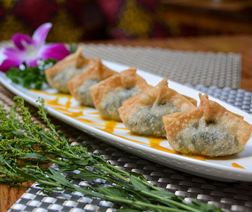 a5. crispy watercress & soy cheese wontons